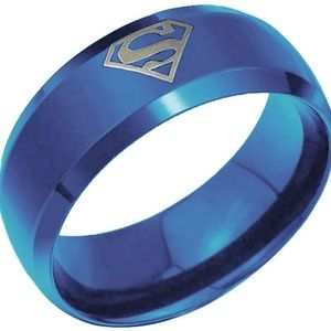 Blue Superman Stainless Steel Ring Size 14